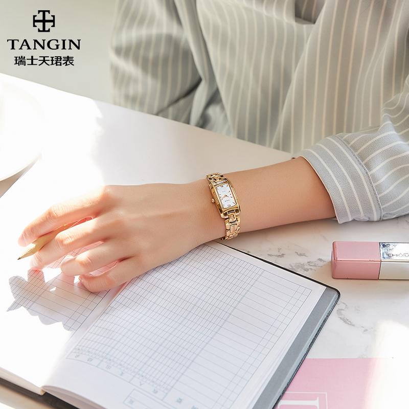 瑞士正品天珺女士手表气质手链表石英表女式玫瑰金链子表1007