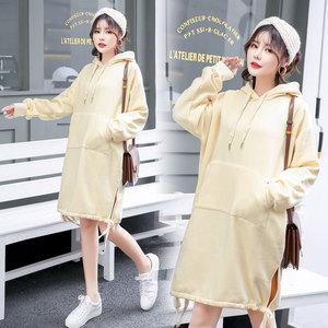 实拍现货0808#2018秋新款韩版时尚宽松打码卫衣连衣裙