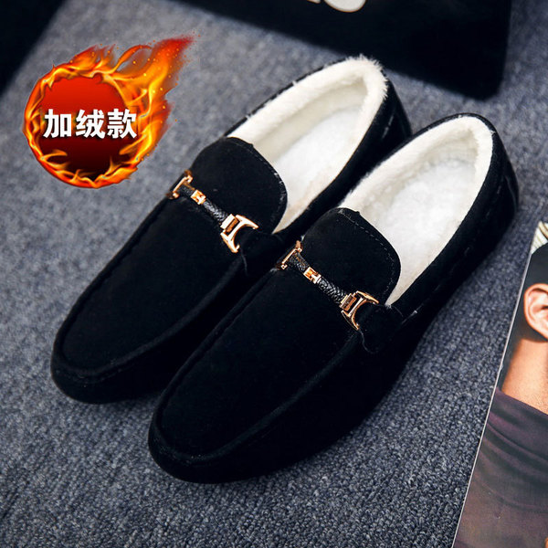 2018 New Winter Plus Velvet Men'S Shoes Lazy Shoes Korean Version Of The Trend Of Peas Shoes