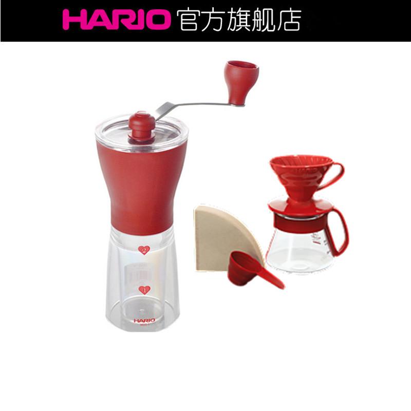 HARIO V60系列滴滤式手冲咖啡套装 手摇研磨咖啡机初学者套装MSS