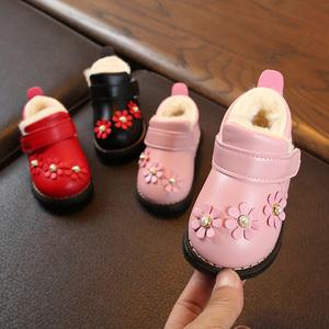 学步鞋女宝宝鞋子秋新款0一1岁加厚加绒婴儿棉鞋冬软底小公主皮鞋