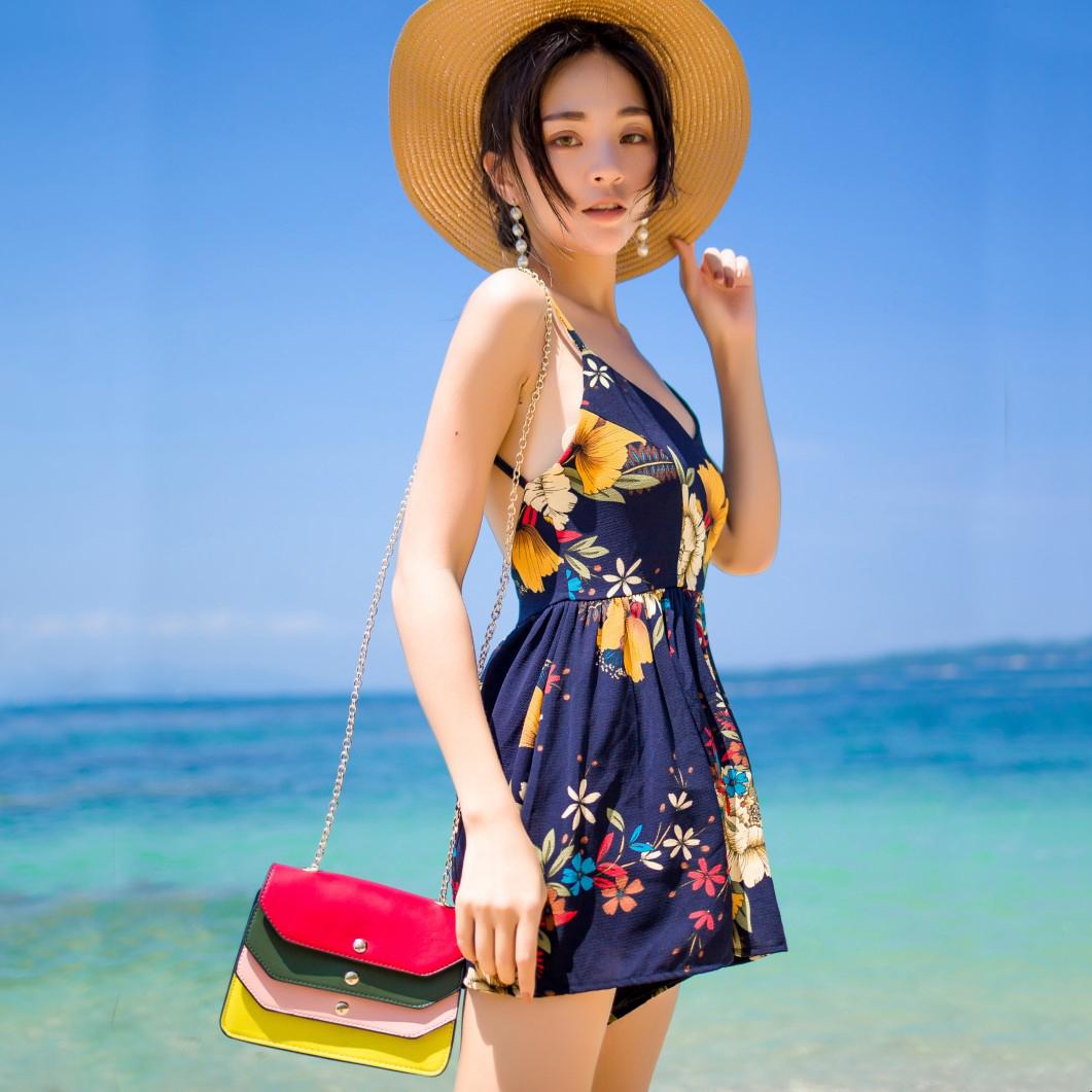 实拍波西米亚度假沙滩裤裙交叉露背V领藏青花朵连体裤