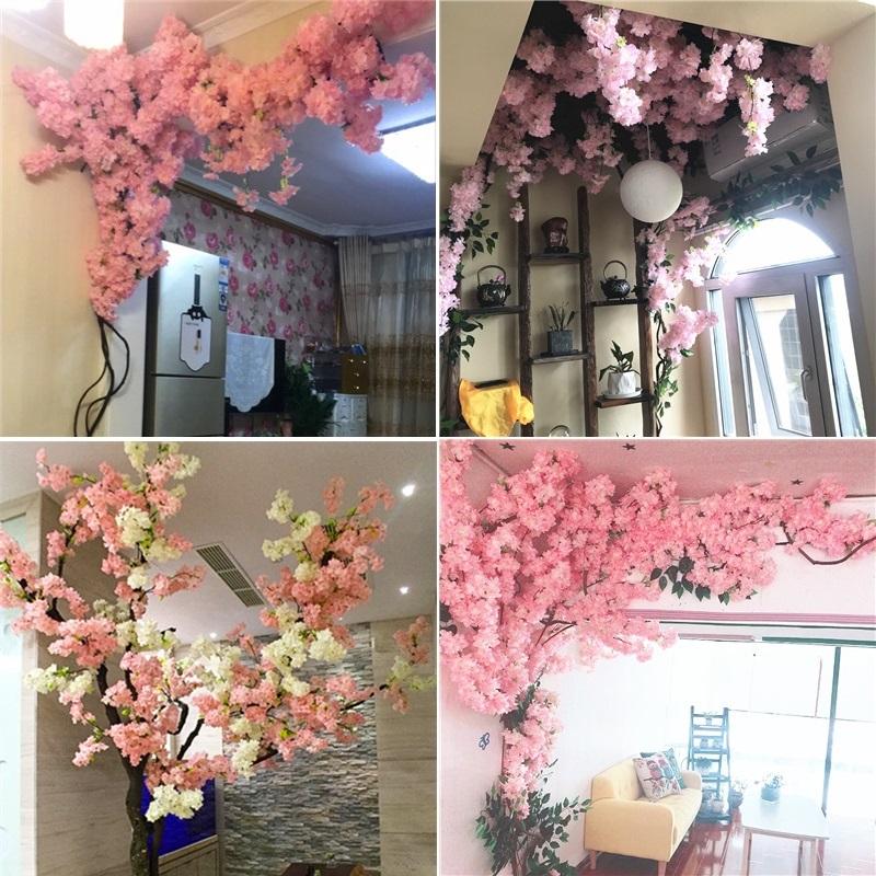 仿真大樱花树室内客厅空调管吊顶网红店墙面装饰落地塑料假花藤条
