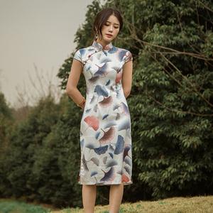 实拍8361#夏季短袖银杏叶印花文艺中式改良旗袍连衣裙