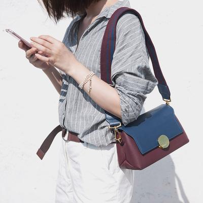 维洛芬女士包包2017新款时尚真皮女包百搭斜挎韩版拼色宽带斜挎包