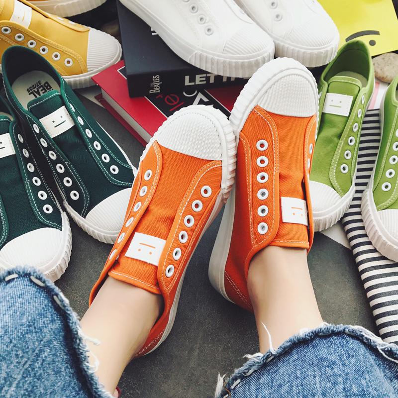 帆布鞋女春季2017新款百搭学生平底小白鞋韩版潮原宿板鞋懒人鞋子