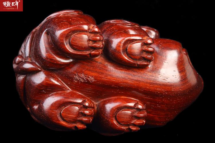 檀印 檀香紫檀aa 级独角兽红木手工雕刻工艺品把件摆件礼品文玩