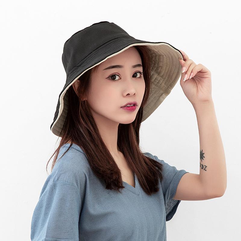 uvcut防晒帽女日本大s同款双面折叠遮阳渔夫帽防紫外线大檐太阳帽