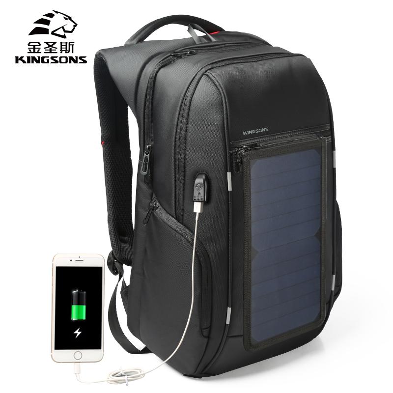 金圣斯 商务电脑包USB太阳能充电书包背包双肩包男大容量旅行包