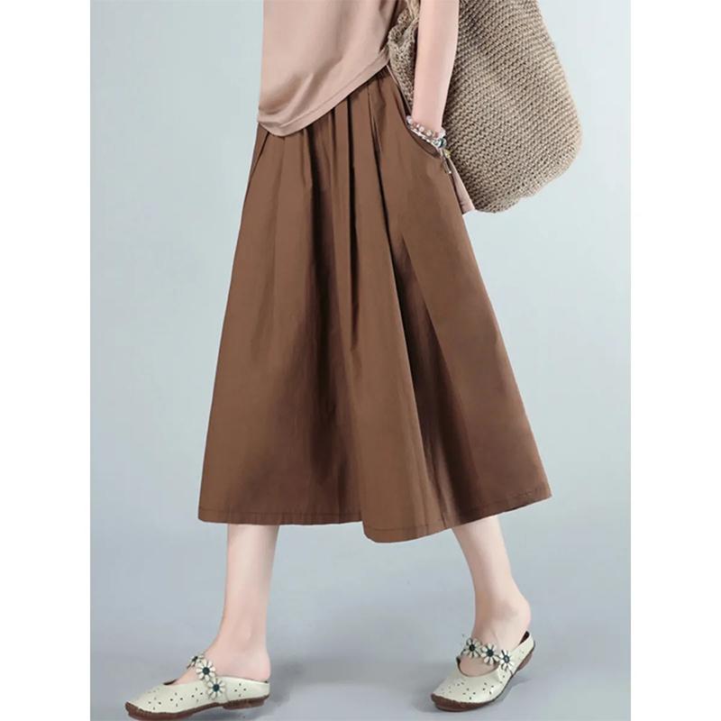 纯棉大脚裤裙裤2021夏装新款大码百搭宽松休闲半身裙宽腿裤