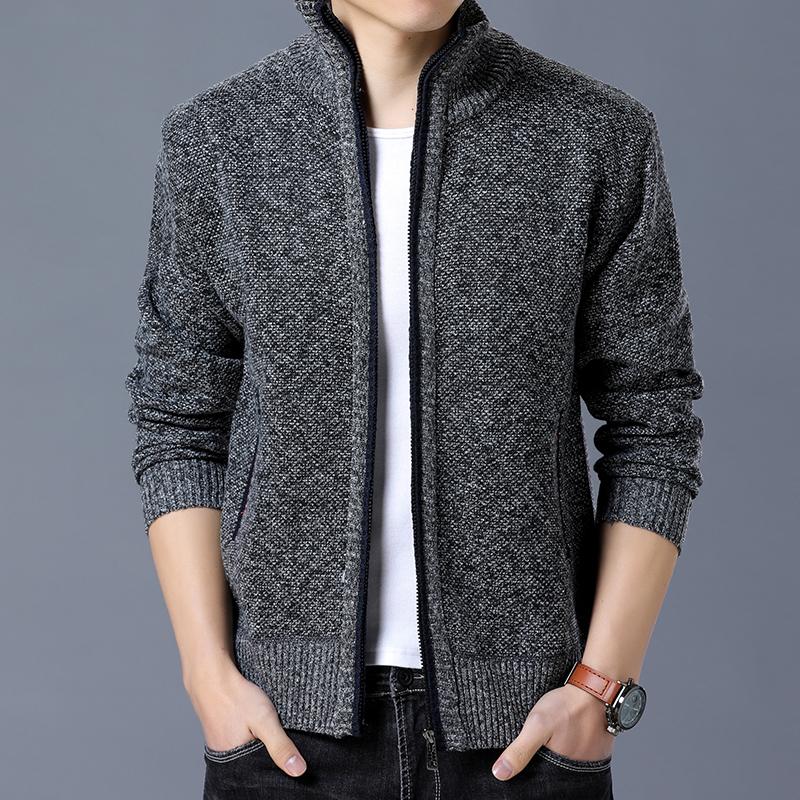 秋季新款男士修身开衫外套纯色羊毛衫秋冬加绒加厚夹克针织衫