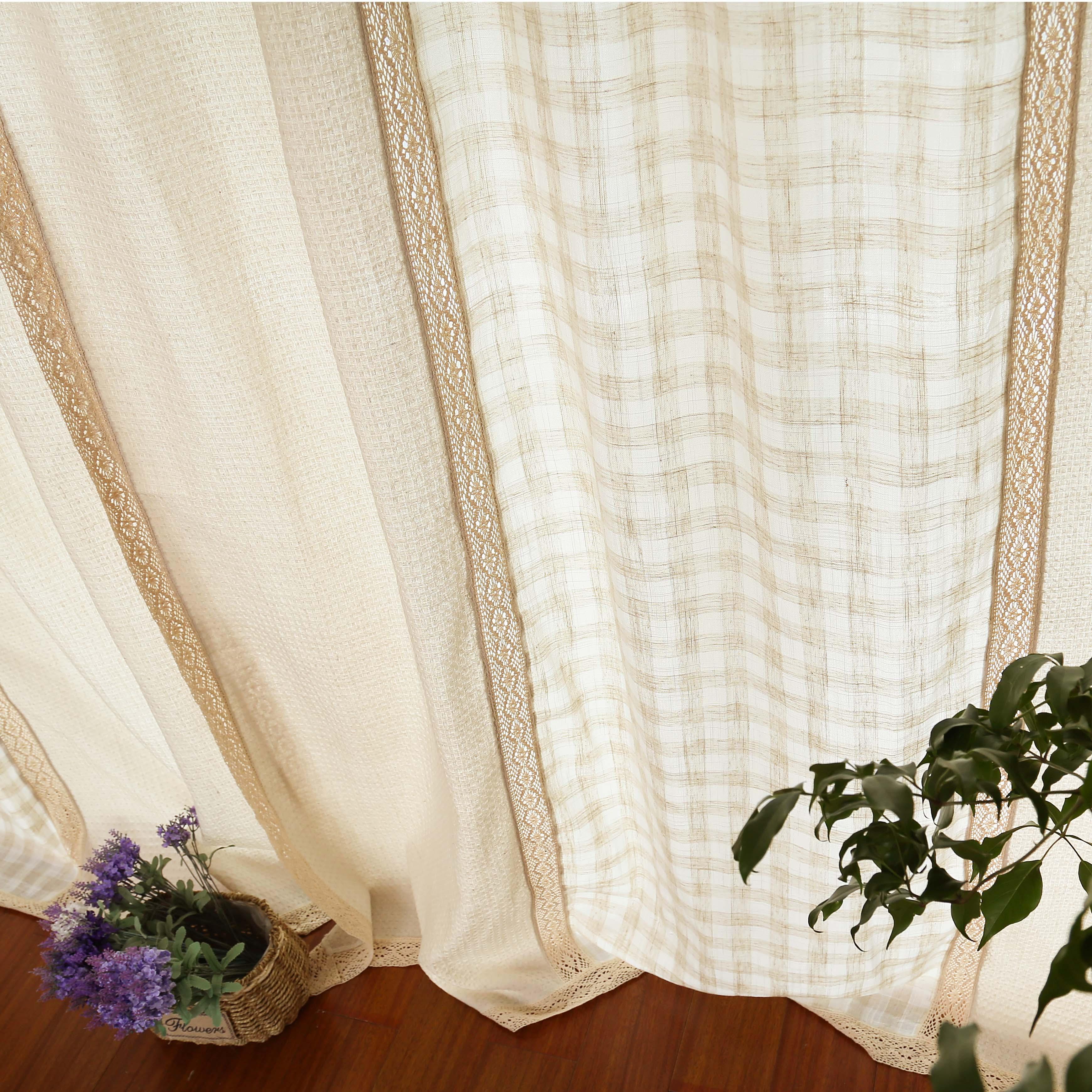 Готовые шторы 外贸欧式美式简约 米色棉麻格子 客厅卧室成品窗帘窗纱 可定制