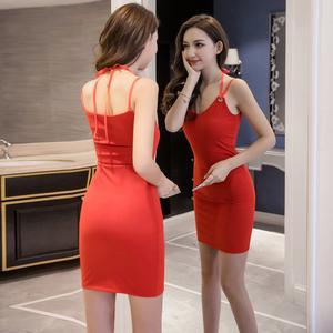 夜店露背性感修身包臀短裙抹胸吊带连衣裙子