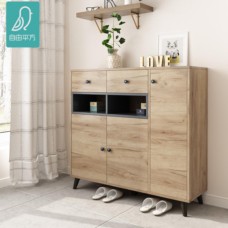 简约现代北欧风格鞋柜定制小户型实木原木色大容量收纳入户门鞋柜
