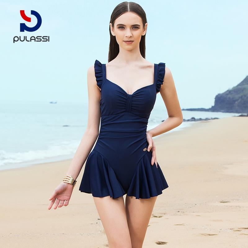 普拉施泳衣女性感小胸聚拢连体裙式遮肚显瘦少女保守游泳衣小清新