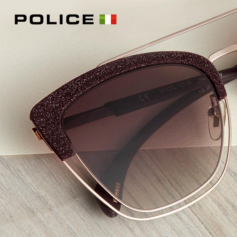 意大利POLICE眼镜太阳眼镜女半框优雅时尚墨镜女眼镜SPL618