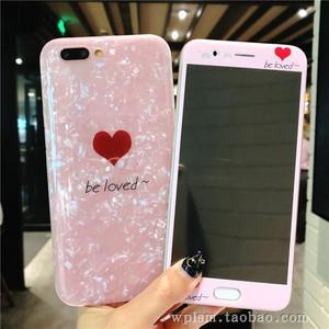 仙女贝壳粉色爱心oppor11钢化膜r9s彩膜r15手机贴膜r9plus保护膜