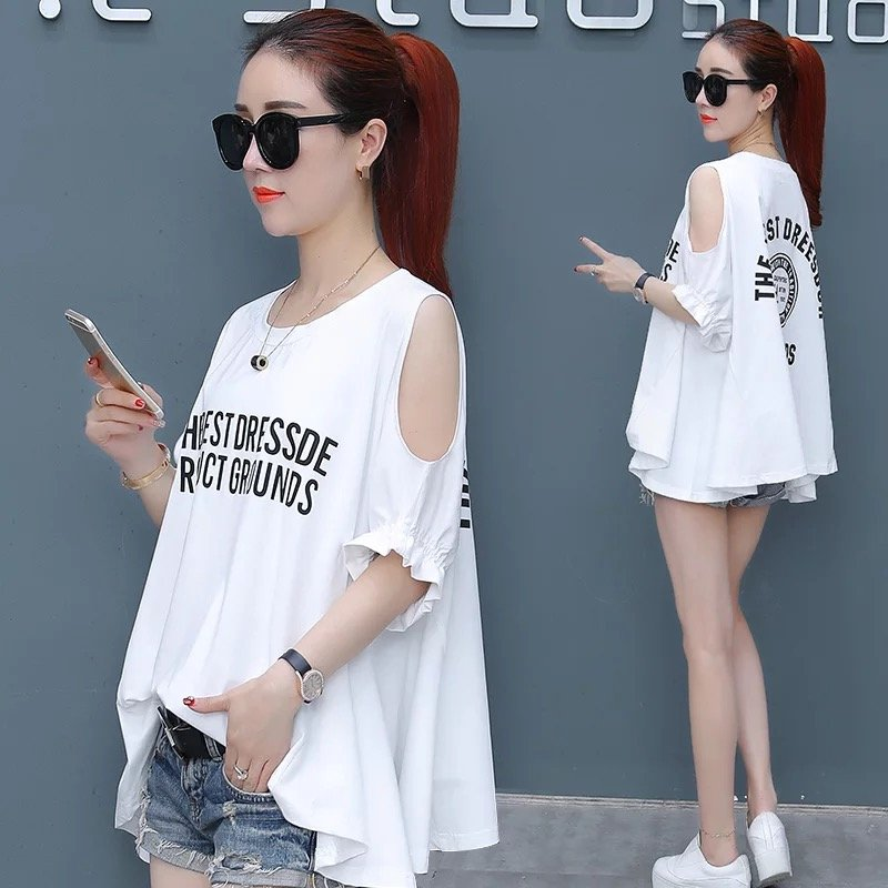 夏季短袖t恤女宽松韩版夏装新款大码女装露肩上衣时尚半袖体恤潮