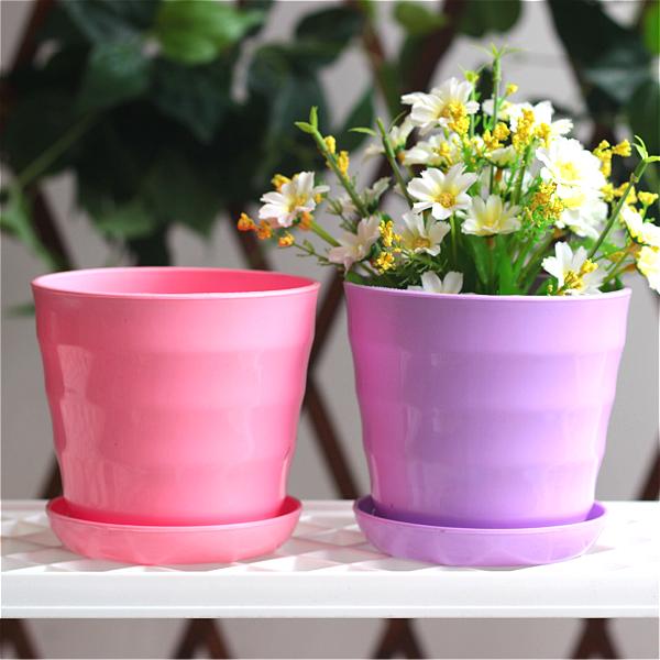 环保塑料花盆仿陶瓷彩色横纹圆形多肉小花盆栽包邮送托盘