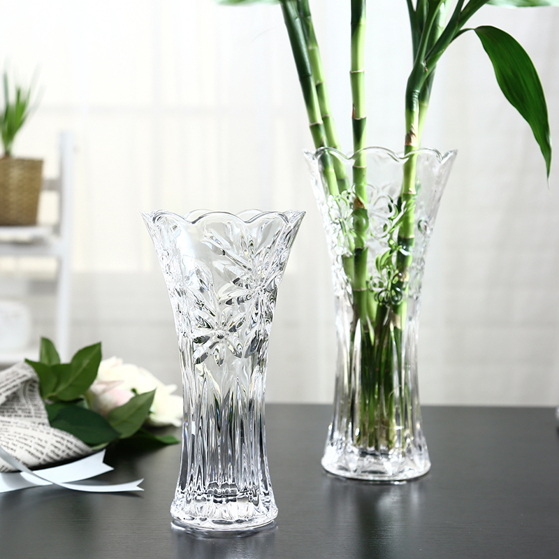 European Style Large Glass Transparent Vase Living Room Ornaments Flower  Flower Water Culture Rich Bamboo Lily Dry ...