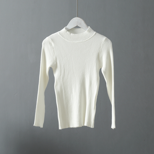 [Real Shot] Korean Style Self-Cultivation Solid Color Knit Bottoming Shirt Sweater
