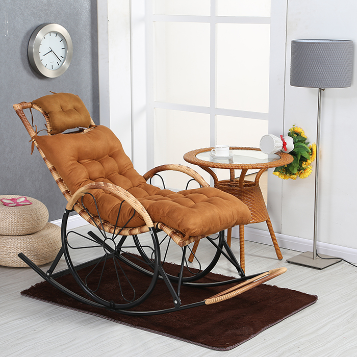 Rattan Rocking Chair Recliner Adult Chair Old Man Rocking Chair Balcony  Living Room Siesta Chair Leisure Easy Chair