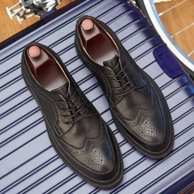 Bullock men's shoes England increased men's shoes casual leather carved shoes men's fashion trend thick-soled men's shoes