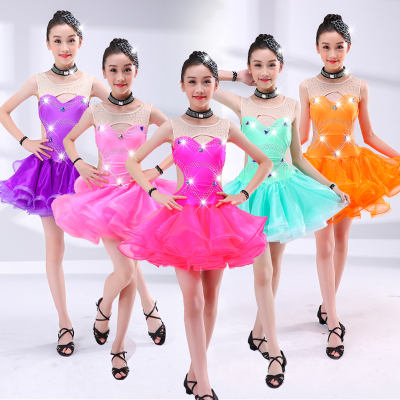 Children's Latin costumes girls Latin dance skirts children Latin competition dance clothes girls Latin performance clothing