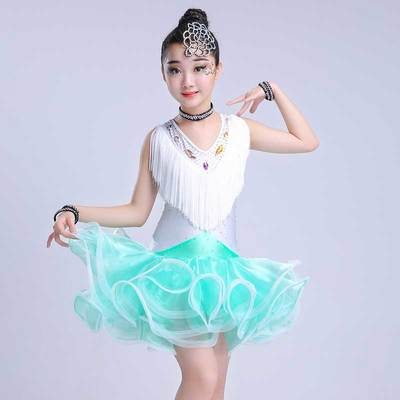 Children's fringed Latin dance skirt children's children's Latin dance dress game performance clothing new tassels pettiskirt