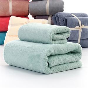 珊瑚绒毛巾浴巾纯棉柔软擦手毛巾纯色成人家用儿童简约纯棉大浴巾