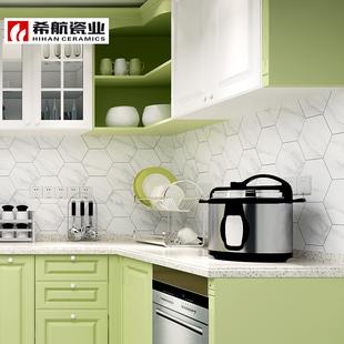 北欧宜家爵士白瓷砖卫生间六角砖仿古砖厨房墙砖六边形地砖阳台