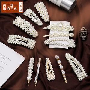 珍珠发夹女一字夹韩国ins网红头发夹子头饰白色韩式手工边夹少女