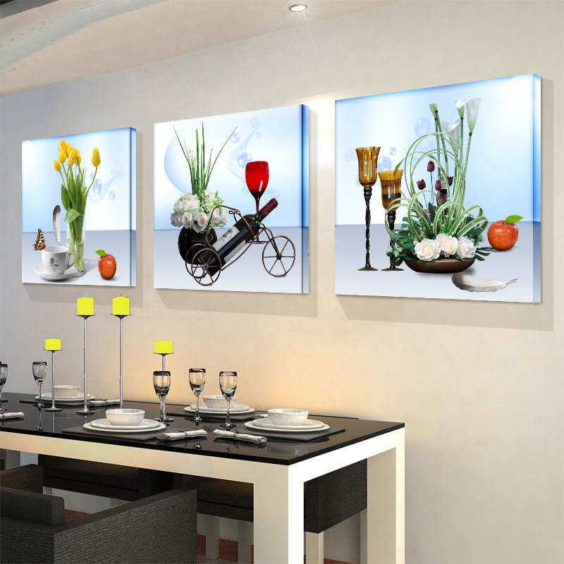 restaurant decoration painting living room murals sofa background wall painting bedroom simple frameless painting fruit triple paintings - Wall Paintings For Bedroom