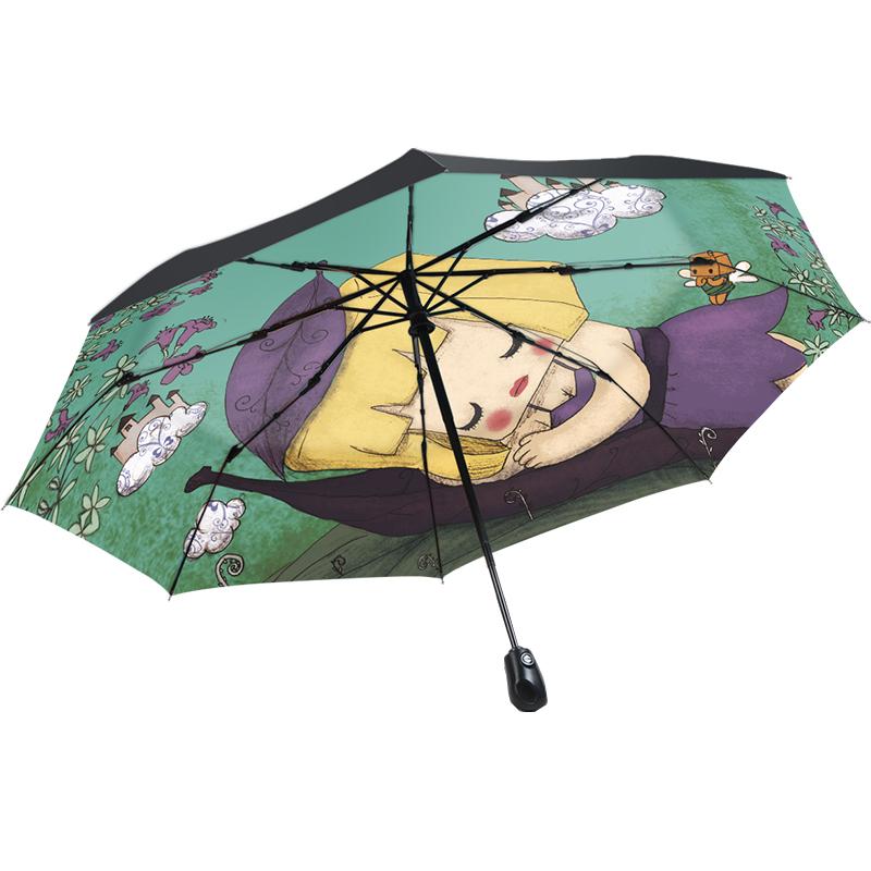 天国の傘の旗艦店の公式サイトの自動3折り畳みの晴雨の2用王女の傘のアイデアは太陽の傘を遮って男女を遮っています,タオバオ代行-代行奈々