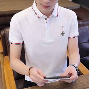 短袖T恤青年POLO衫男纯棉小蜜蜂上衣男