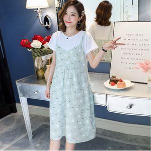 孕妇装短袖连衣裙中长款夏季假两件孕妇上衣后系带韩版夏装裙子