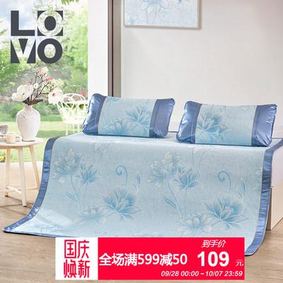 lovo家纺夏凉提花席子1.8m床可折叠夏天季1.5米空调席子三件套件