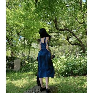 声光叹咏亮蓝吊带上衣半裙花苞长裙套装