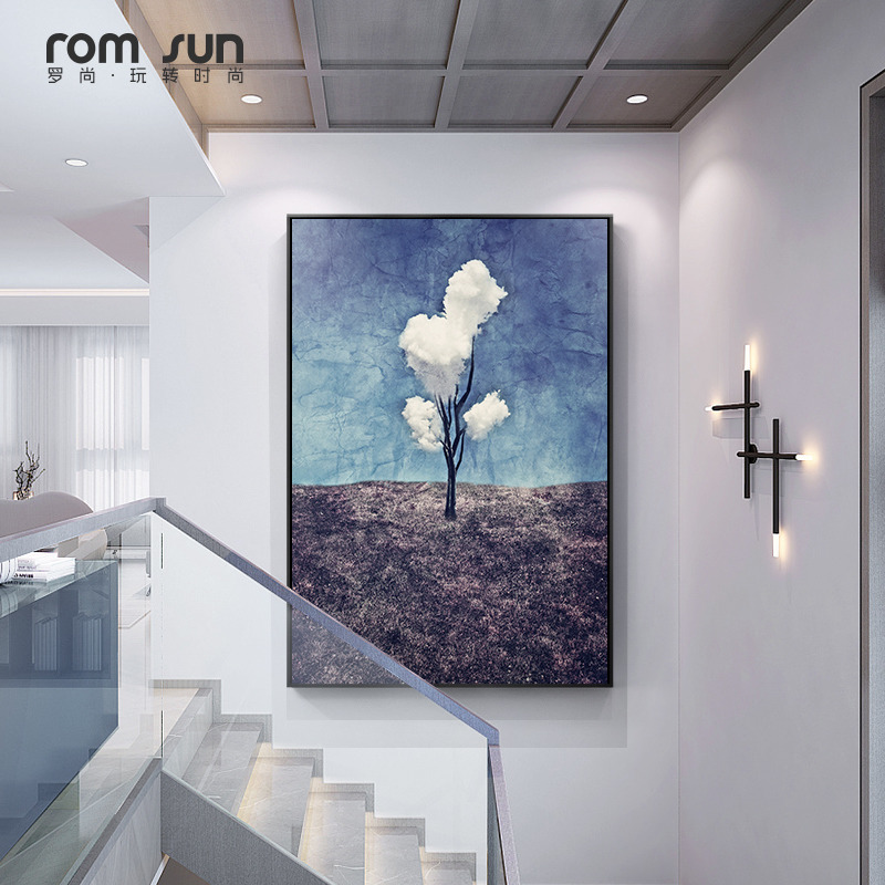 三朵白云玄关装饰画超现实主义现代过道抽象进门油画北欧客厅墙画