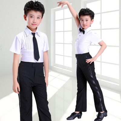 Children Latin Dance Boys Short-sleeved Children's Gonggong Dance Grade Examination Competition Performing Dresses Long-sleeved Suit