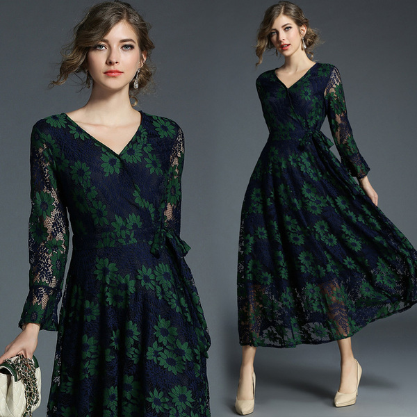 real shot Europe and the United States new temperament Slim V-neck long-sleeved large swing lace dress