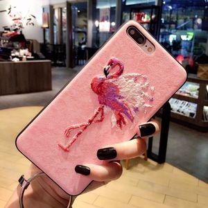 简约刺绣麋鹿iPhoneXS手机壳火烈鸟苹果6s保护套i8挂绳7plus情侣软边8x奢华大气6splus卡通全包套X男女款支架