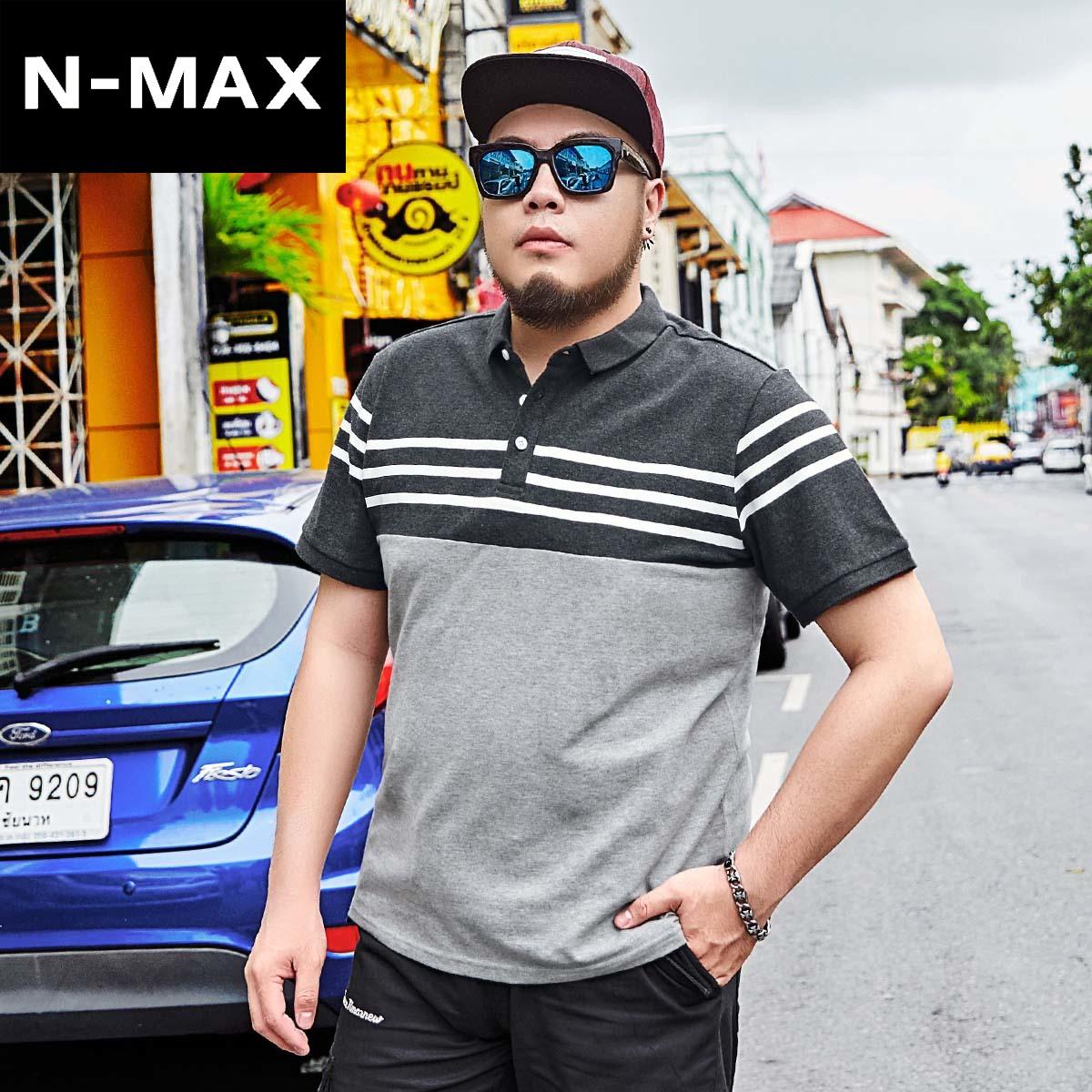 NMAX大码男装潮牌 潮胖子宽松短袖Polo衫加肥加大翻领半袖保罗衫