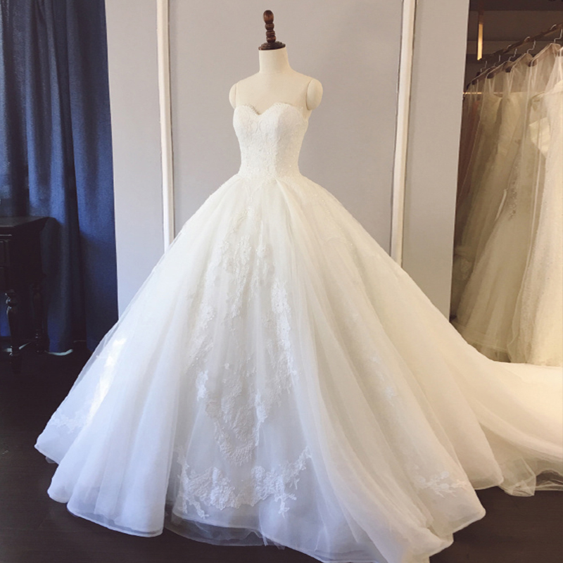 婚纱礼服2018新款新娘拖尾公主梦幻白色抹胸韩式性感修身显瘦夏季