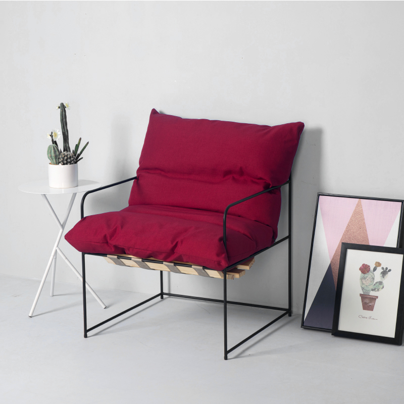 Industrial Style Nordic Modern Minimalist Wrought Iron Sofa Designer Single  Creative Studio Fabric Ins Net Red Chair