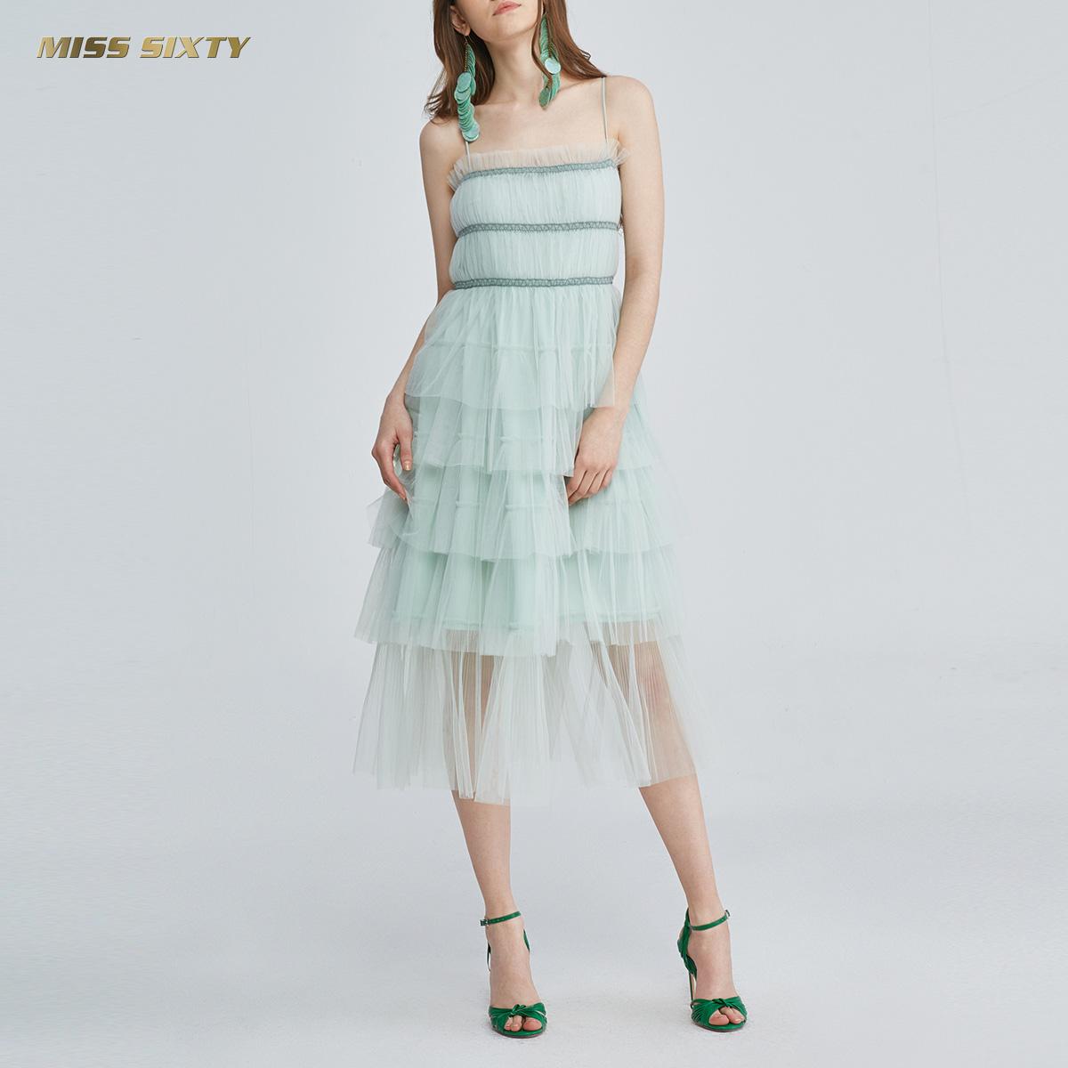 Miss Sixty2018新款夏季层次网纱吊带连衣裙女682DJ0390000