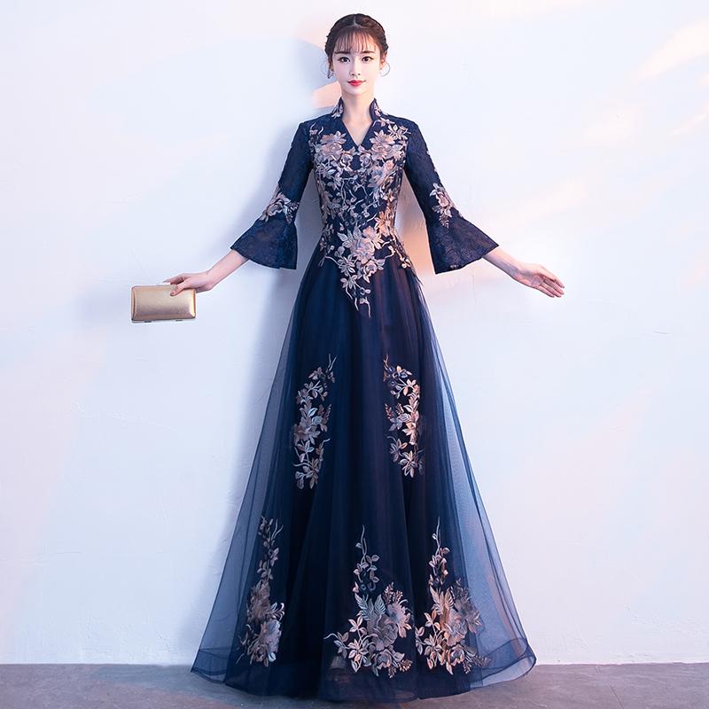 宴会晚礼服裙女2018新款高贵优雅长款端庄大气显瘦长袖名媛主持人
