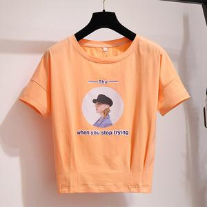 2020夏季新款韩版网红百搭时尚宽松卡腰上衣学生女短袖t恤潮