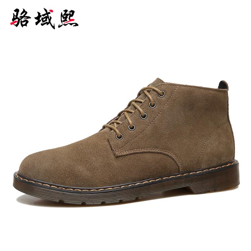 真皮原宿风马丁靴男靴子短靴潮高帮鞋复古百搭中帮工装沙漠靴秋冬