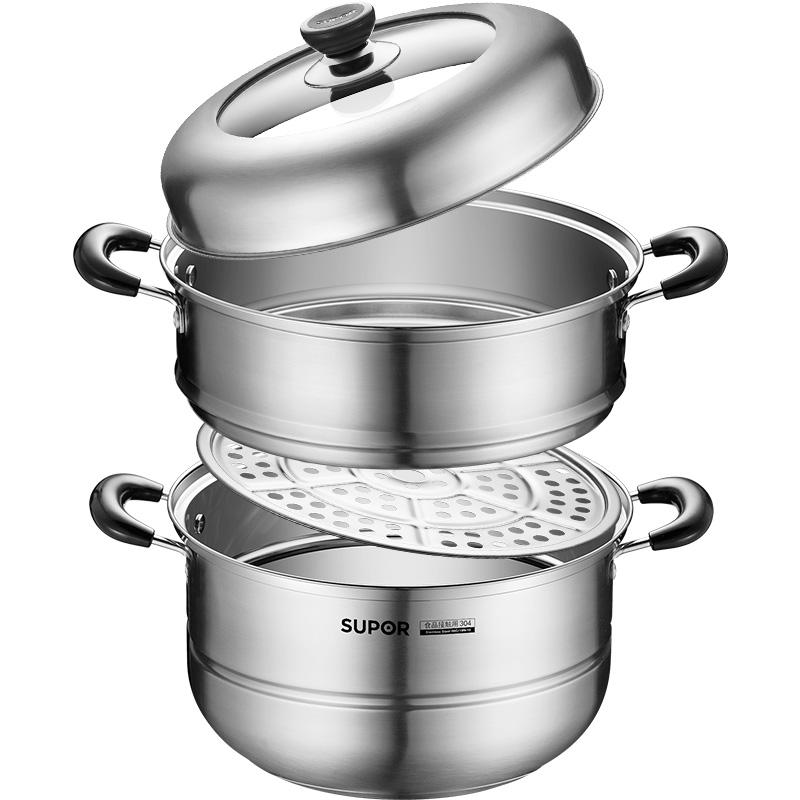 苏泊尔蒸锅家用304不锈钢加厚双层2层28cm电磁炉煤气灶蒸煮大号